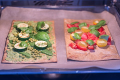 Healthy Food - two vegan pizzas with healthy toppings in the oven (verchmarco) Tags: food lebensmittel noperson keineperson vegetable gemüse meal mahlzeit tomato tomate cheese käse plate teller bread brot refreshment erfrischung slice scheibe lunch mittagessen dinner abendessen dish gericht delicious köstlich epicure feinschmecker sandwich table tabelle restaurant cuisine kochen grow wachsen fuji day windows leica pretty colours valley abandoned texture skyline