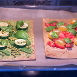 Healthy Food - two vegan pizzas with healthy toppings in the oven thumbnail