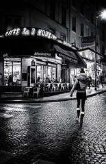Paris, rue Lepic (christiandumont) Tags: streetphotography streetphoto streetlife street blackandwhite blackwhite bw nb noiretblanc rue nuit night monochrome x100f fujifilm paris