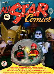 All-Star Comics No.8 (1942) (Andrew Cookston) Tags: lego dc jsa allstarcomics all star comics 1940s thespectre doctor dr fate midnite starman johnnythunder theatom thesandman hawkman hooty superhero custom minifig minifigure ugminifigures pariscustombricks funnybrick red yellow blue macro toy still life photography andrew cookston andrewcookston