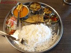 Fish curry rice thali (Joegoaukfishcurry2) Tags: joegoauk goa rice fish