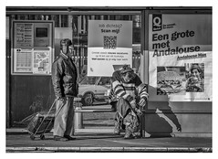 Gent Sint-Jacobs (marc.demeuleneire) Tags: city busstop shadow street gent nikon bw