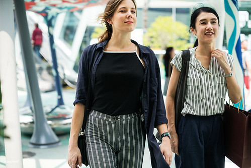 Girlfriends shopping around the city