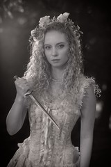 Lacy Fairy Tale Dagger 1566 BW (jim.choate59) Tags: fairytale princess on1pics jchoate cosplay corset dress dagger forest fantasy bw blackandwhite portrait woman maiden