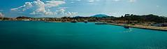 Korfu, Panoramaphoto (Ulrich Scharwächter) Tags: meersonne wolken schiffe häuser