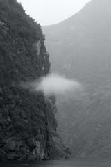 One lost cloud (smir_001) Tags: geirangerfjord geiranger fjord water mountains clouds simplistic beautiful dramatic spectacular unescoworldheritage weather dull rainy norway foggy monochrome monotone blackandwhite bw picturesque travel tourism attraction nature outdoor landscape august summer canoneos7d norway2018
