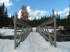 Happy Trails Folks (Mr. Happy Face - Peace :)) Tags: art2018 fence bridge snow autumn fall braggcreek yyc albertabound canada alberta sky clouds pathway hiking creek kcountry cans2s weather calgary parks hff fencefriday happyfencefriday metallic