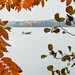 Boat on a lake in autumn