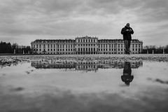 Schönbrunn Palace (CoolMcFlash) Tags: blackandwhite bw bnw blackwhite monochrome reflection puddle water architecture building schönbrunn palace person street streetphotography candid vienna sw schwarzweis spiegelung pfütze wasser architektur gebäude schlos wien photography fotografie fujifilm xt2 xf1024mmf4 r ois man mann