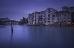 Venetian paths 122(Accademia) (Maurizio Fecchio) Tags: venice venezia italy longexposure sunset fog blue boats bridge nikon city cityscape water canal architecture travel tramonto