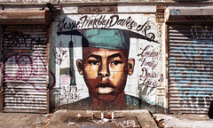 Memorial to Jessie Timothy Davis Jr (neilsonabeel) Tags: 24mm nikkor analogue film mural nikonfe2 nikon streetart memorial brooklyn newyorkcity