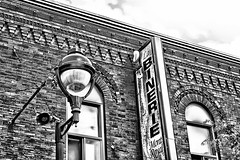 La Binerie Mont Royal (stephaneblaisphoto) Tags: architecture brick wall building exterior built structure city clock cloud sky day history lighting equipment low angle view nature no people outdoors street light past bw blackandwhite monochrome montreal quebec canada