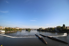 Moldava River (elianek) Tags: prague praga czech tcheca europe europa river rio ponte bridge panoramic panoramica grandeangular wideangle