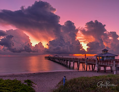 Skyfire (Thüncher Photography) Tags: fujifilm gfx50s fujigfx50s gf3264mmf4rlmwr mediumformat scenic landscape waterscape oceanscape nature outdoors sky clouds colors reflections sunrise beach tropical pier junobeachpier junobeach jupiter florida southeastflorida atlanticocean