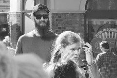 Behind you.... (markwilkins64) Tags: markwilkins london borough southwark street streetphotography candid mono monochrome blackandwhite bw beard sunglasses