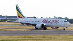 ET-AVM Boeing 737MAX8 Ethiopian Airlines first of type at Dublin Airport on a fuel stop from Boeing Field in Seattle July 2018 (1 of 1) (Conor O'Flaherty) Tags: etavm ethiopian boeing max max8 737max8 737 dublinairport airport dublin dub eidw delivery taxi aviation staralliance