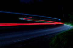 S (fredrik.gattan) Tags: s curve path road light trails long exposure car mercedes taxi street night trees forest sign grass pavement