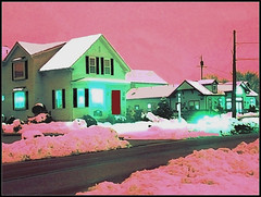 Winter Scene In Chelmsford, MA.- Edited  Photo Created  by STEVEN CHATEAUNEUF On October 7, 2018 - From A Photo Taken On March 23, 2017 (snc145) Tags: sky trees bushes snow sunset winter seasons photo editedimage landscape scenery house architecture pink green gray red white chelmsford massachusetts usa march232017 october72018 stevenchateauneuf abstract vividstriking
