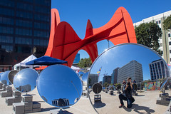 Photoception (derekbruff) Tags: alexandercalder artprize calder grandrapids art blue mirrors orange photographer sculpture