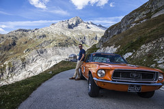 (Super70 Photography) Tags: alps swiss italy switzerland furka pass ford mustang classic car 1968 v8 pony mountains snow adventure charity alzheimers money fundraising