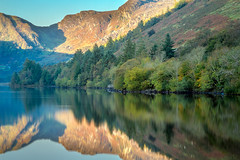Llyn Crafnant Sunrise (Steve Robinson 1918) Tags: calm color colorful colour colourful dramatic grass hill hills lake landscape llyncrafnant mirror mountain mountains northwales peaceful peak peaks reflection reflections reservoir sky snowdonia sun sunrise tranquil tranquility tree trees trefriw uk wales water