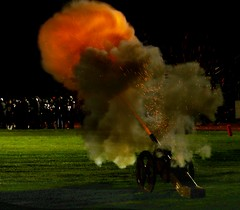 Cannon firing after a Fort Morgan score in their 41-0 win over Norhridge (Greeley, Colorado). - PLDL7545 (Paul L Dineen) Tags: sports football highschool colorado fortmorgan fortmorganmustangs northridgegrizzlies 2018 201810 20182012 cannon flame fire shot sparks b4 b5