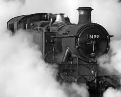 5199 GWR Class 5101 2-6-2T (Roger Wasley) Tags: 5199 gwr class 5101 262t ropley midhants railway steam locomotive trains railways station hampshire autumn gala mono bw monochrome blackandwhite