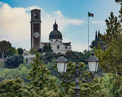Italy, Vicenza... Santuario della Madonna di Monte Berico (marek&anna) Tags: italy vicenza italianflag clock trees lamps hill santuario tower santuariodellamadonnadimonteberico monteberico