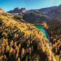 Towards Albula Pass (janos radler) Tags: aerial laidapalpuogna albula pass graubünden switzerland alps alpine lake emerald autumn fall bergün bravuogn