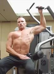 lat pulls (ddman_70) Tags: shirtless gym workout pecs abs latpulldowns sweatpants