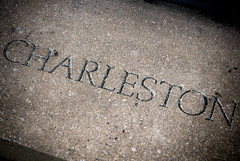 The word Charleston inscribed on a stone at Waterfront Park in Charleston South Carolina (CarmenSisson) Tags: charleston charlestonpark southcarololina waterfrontpark concrete slab word letters inscribed city name typography southcarolina usa