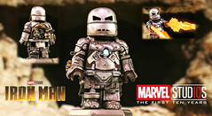 LEGO Marvel : The First 10 Years - Iron Man MK 1 (MGF Customs/Reviews) Tags: lego marvel iron man mk 1 mark tony stark bult this in a cave with box of scraps robert downey jr cinematic universe avengers infinity war custom figure minifigure suit armor memes