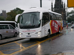 Harry Shaw of Coventry Scania K360IB4 Irizar i6 YR16BLX, in Expat Explore livery, at Princes Street, Edinburgh, on 18 September 2018. (Robin Dickson 1) Tags: busesedinburgh scaniak360ib4 irizari6 harryshawofcoventry expatexplore yr16blx