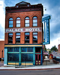 Playing the Palace (Orson Wagon) Tags: colorado hotel motel old architecture mining neon ghost sign decay abandoned small town city red brick