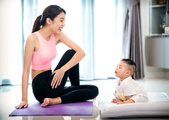 Mother in yoga action and baby in home (I love landscape) Tags: baby mother yoga exercise fitness together white floor sport child female healthy fun training cheerful strenuous mat learning handsome aerobics stretching relationship nurture sweating sweatpants asian thai home woman happy young lifestyle body joy leisure smiling gymnastic family childhood recreation activity playful motherhood sportswear exercises physical love toddler indoors girl