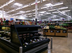 Produce, with the cool (but not so unique anymore) packaged meat wall in the background (l_dawg2000) Tags: 2000 2000s christmas departmentstore discountstore grocery holidays holidays2013 mississippi ms olivebranch retail store supercenter wallyworld walmart xmas unitedstates usa