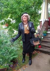 Uh-Oh, I Don't Like The Looks Of This (Laurette Victoria) Tags: boots pencilskirt jacket purse gloves animalprint laurette woman beret