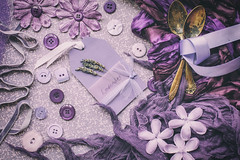 297/365: Shades of purple (judi may) Tags: 365the2018edition 3652018 day297365 24oct18 october2018amonthin31pictures purple shadesofpurple flatlay buttons flowers ribbons vintage vintagespoons tabletopphotography stilllife canon5d 50mm