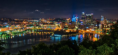 Three Rivers (tquist24) Tags: alleghenyriver hdr monongahelariver nikon nikond5300 ohioriver outdoor pennsylvania pittsburgh pointstatepark pointofviewpark city downtown geotagged lights longexposure night reflection reflections river rivers scenic sky tree trees urban water unitedstates skyscraper skyscrapers building buildings cityscape
