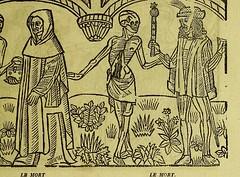 This image is taken from Page 13 of La grande danse macabre des hommes et des femmes : précédée du dict des trois mors et dfs [!] trois vifz, du Débat du corps et de l'ame, et de La complaincte de l'ame damp (Medical Heritage Library, Inc.) Tags: dance death wellcomelibrary ukmhl medicalheritagelibrary europeanlibraries date1862 idb24877402