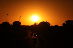 Sun on Interstate 74 (Ray Cunningham) Tags: sunset illinois fithian
