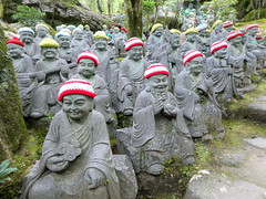Rakan statues at Daishoin Temple in Miyajima (chibeba) Tags: miyajima miyajimaisland japan asia daytrip itsukushima vacation holiday september 2018 autumn hatsukaichi hiroshimaprefecture rakan rakanstatues daishoin daishointemple woolenhats hats woollenhats knitted knittedhats