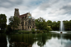 Feuersee (Marc R. A.) Tags: clouds church lake fountain water sky trees city gothic