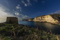 Xlendi Tower (CraDorPhoto) Tags: canon5dsr xlendi gozo malta landscape seascape mediterranean sea cliffs sky blue clouds tower fortress