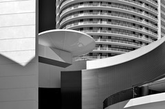 Kirby Drive Architecture (infrared) (dr_marvel) Tags: upperkirby ir infrared houston tx texas bw blackandwhite curves kirby kirbydrive highrise apartments railing
