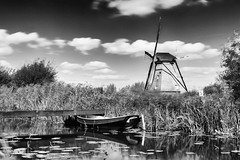 Zwischen Seerosen (tan.ja1212) Tags: windmühle wasser fluss seerosen boot schilf schwarzweis windmill river water reed blackandwhite natur nature wolken clouds spiegelung reflection