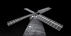 White sails, black sky (David Feuerhelm) Tags: windmill sails monochrome bw blackandwhite noiretblanc schwarzundweiss negroyblanco wideangle contrast tower building ir infared thaxted essex nikon d90