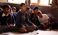 Boys at Khaltse Secondary listen to my presentation