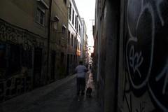 a man and his dog (*F~) Tags: lisboa portugal man dog street dusk graffiti labyrinth bairroalto