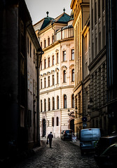 Morning Commute..... (Kevin Povenz Thanks for all the views and comments) Tags: 2018 october kevinpovenz europe bratislava slovakia street city streetphotography shadow light person man work walk walking ally canon7dmarkii town old architecture